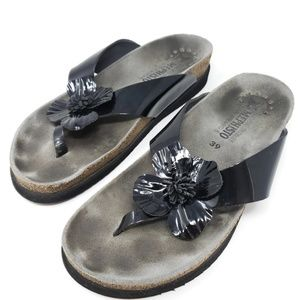 Mephisto Patent Leather Floral Thong Sandals